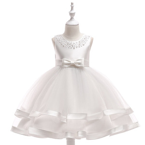 Wholesale Baby Clothes Latest Dress Designs Girl Satin White Color Wedding Party Bridesmaid Dresses L5017