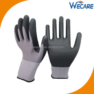 15 Gauge Gray Nylon Lycra Safety Work Micro Foam Nitrile Coated Gloves For Sale