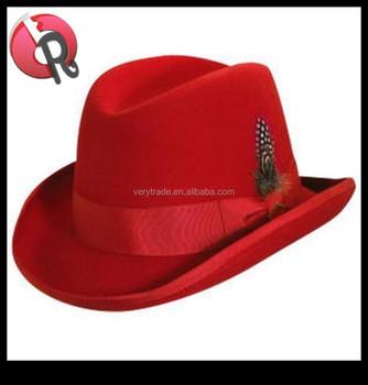 3dd364ab7cc Men Red Wool Homburg Hat M L Xl   Satin Lined Godfather Fedora ...