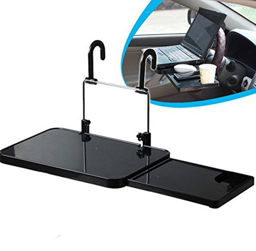 SoleSa Travel Car Computer Desk with Drawers Folding Computer Stand Car Notebook Stand Computer Racks -Black