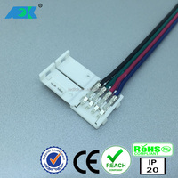 Rgb 4 Wire Ce Rohs solderless 4 pin rgb led strip connector 10mmd Strip Connector for LED strip lights