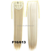 Most Popular Blonde Hair Drawstring Ponytail , Synthetic Blue Hair Ponytail Holder
