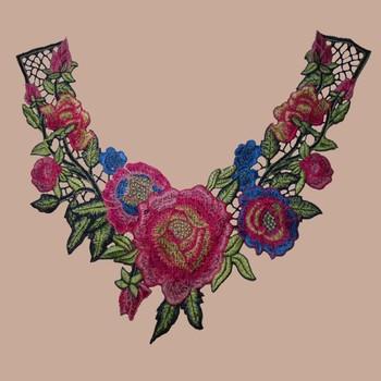 Long Floral Cotton Crochet Neck Applique Embroidery Cotton Crochet