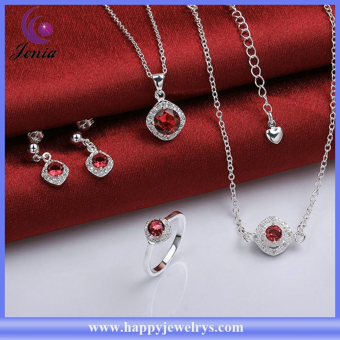 Top quality red zircon ring ,anklet ,pendant ,earring set 925 silver bridal jewelry set ( SPCS780-A)