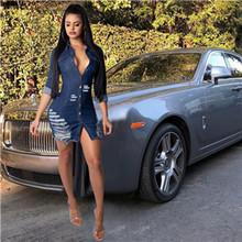 Женское джинсовое платье с дырками Adogirl, мини-платье на пуговицах с отложным воротником и длинными рукавами для ночного клуба, осенние наряд...(Китай)