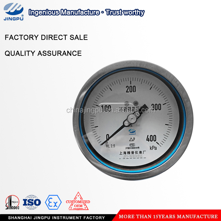 Differential pressure gauge Bracket mounting pressure gauge with back entry International Brand Jingpu