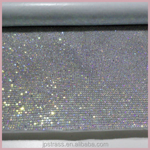 Shiny 5mm crystal ab hotfix glass rhinestone mesh gold base,crystal rhinestone sheet trimming for shoes decoration In China