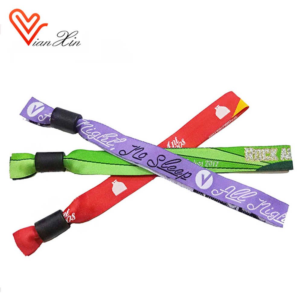 cheap custom fabric woven wristbands for events
