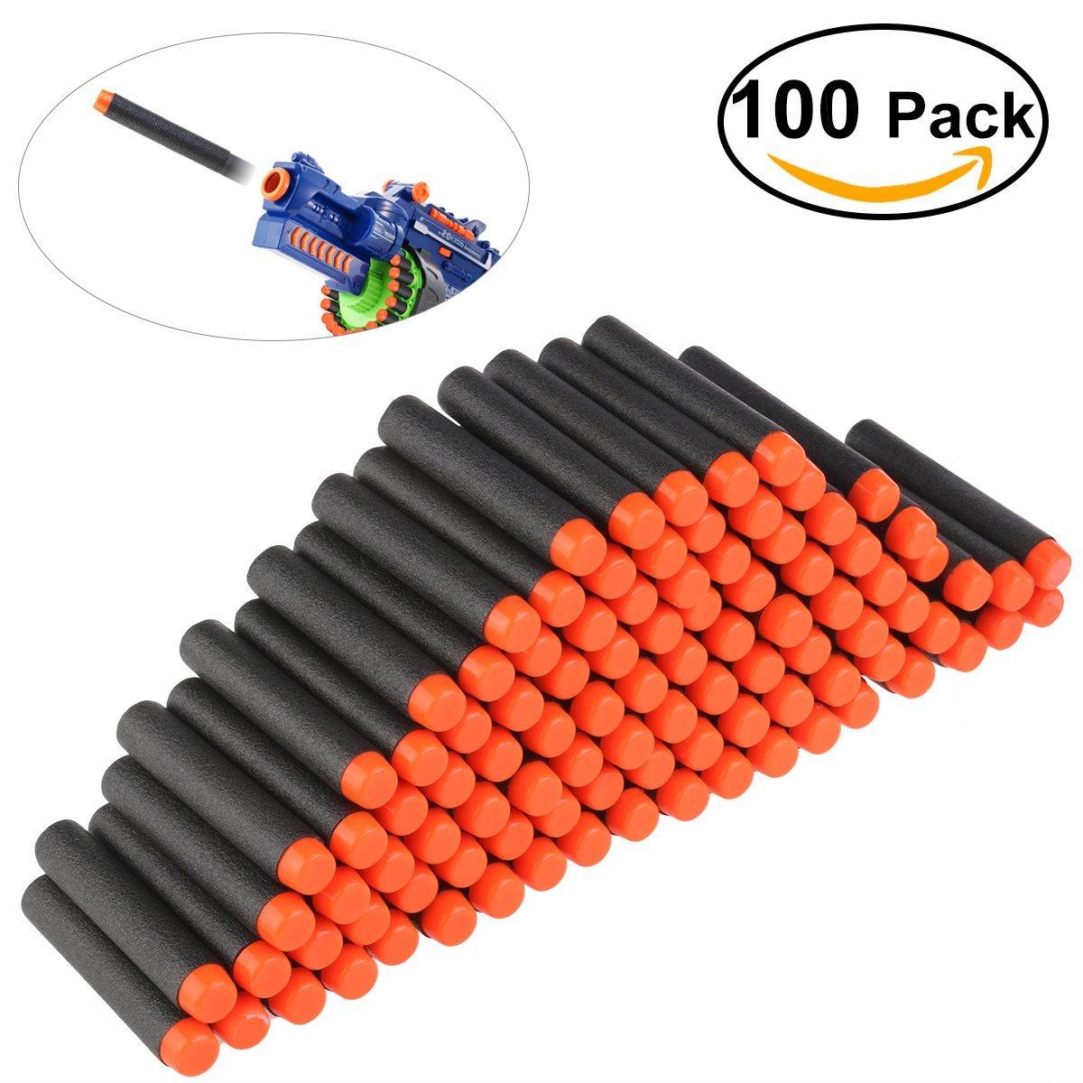 NUOLUX Foam Darts 100pcs 7.2cm for Nerf N-strike Elite Series Blasters Toy Gun Color Black