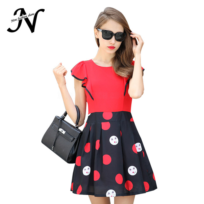 47b7df2fb8696 New 2015 Summer Korean Women Sweet Clothes Fashion Lady Pleated Print Lotus  Sleeve Polka Dot Plus Size Red Dress Female 1930