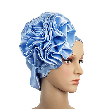 Queency Beautiful African Silk Satin Turban Custom Soft and comfortable Bonnet With Big Flower Decoration