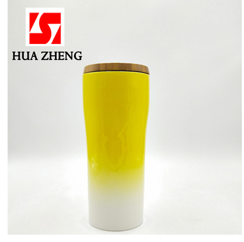 53e317185f0 HUAZHENG Ombre Effect Double Wall Porcelain Ceramic Take Away Travel Mug  Coffee Cups with Bamboo Lid