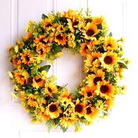 Discount in November Customized Size Pure Handicraft Decoration Supplies Wholesale Sunflower Artificial Flower Wreath
