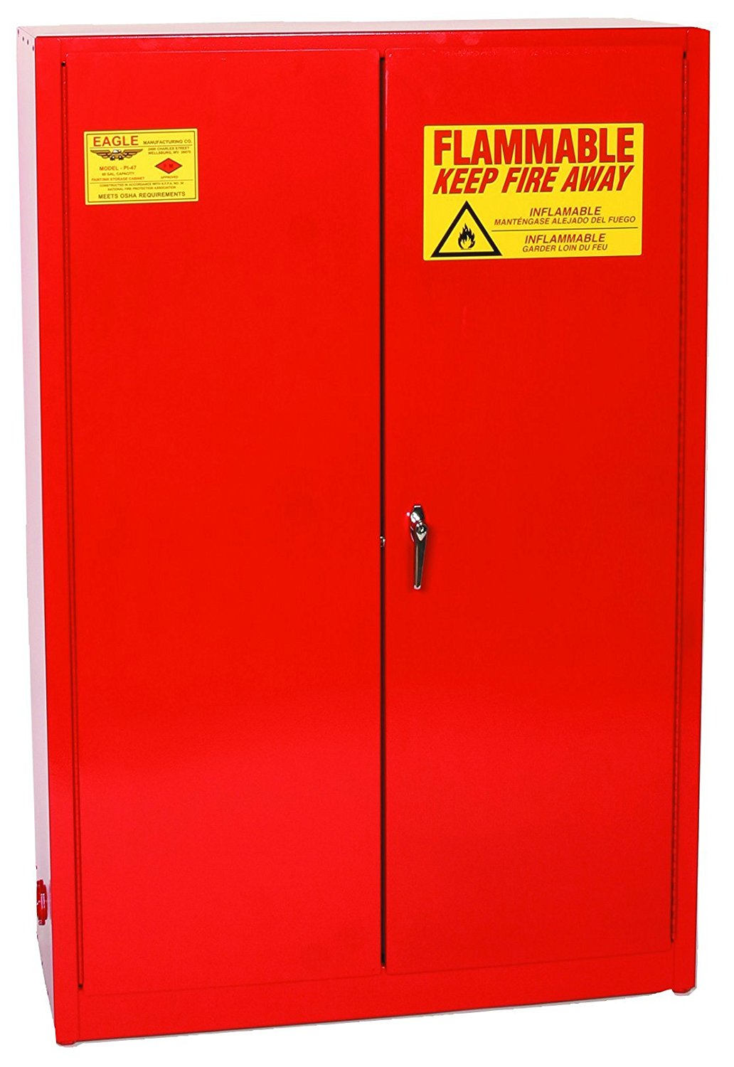 """Eagle PI-47 Safety Cabinet for Paint & Ink, 2 Door Manual Close, 60 gallon, 65""""Height, 43""""Width, 18""""Depth, Steel, Red"""