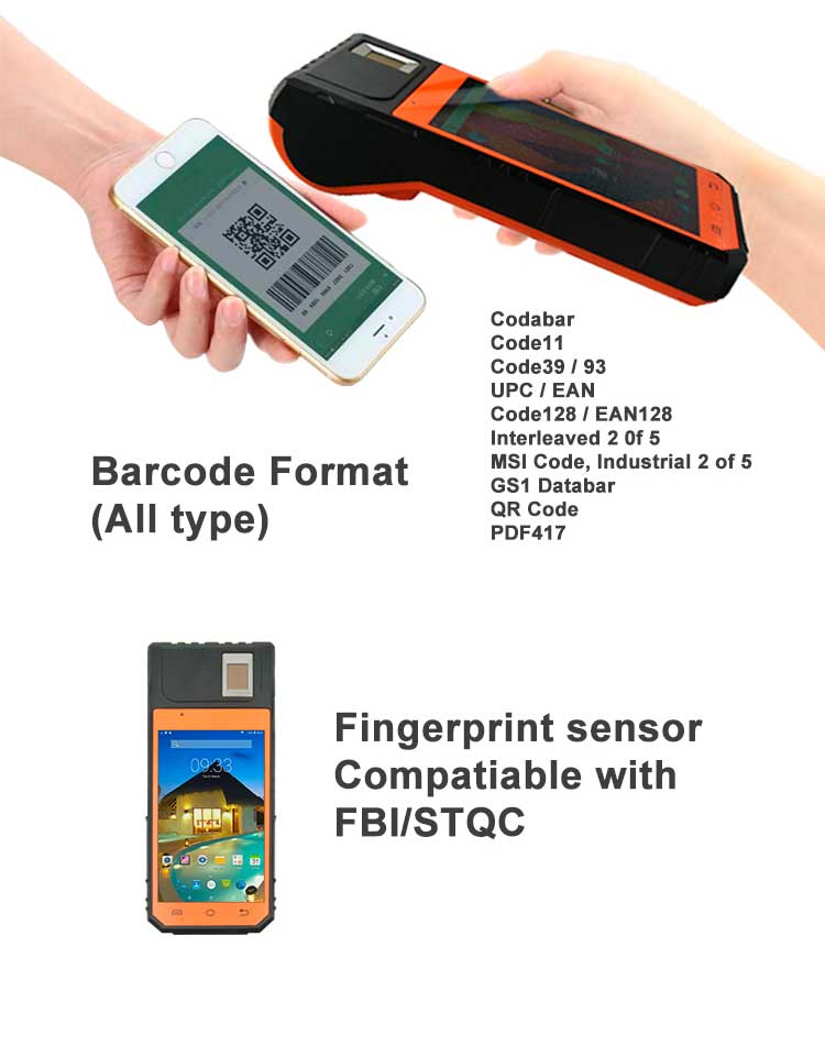 5.5 Inch 3G SIM  Handheld Pos Terminal 2d Barcode Scanner Bluetooth Barcode Scanner With GPS  For Android FP09