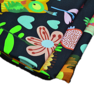 NO MOQ wholesale 280gsm combed elastane 95% cotton 5% spandex french terry printed fabric for baby clothes