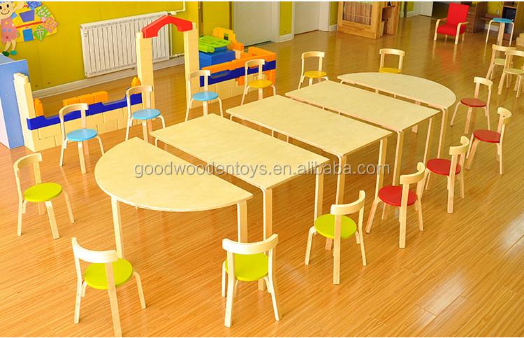 high quality wood preschool kids baby cartoon table and chairs