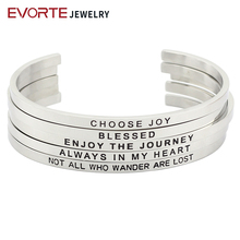 316L Stainless Steel Silver Color Mantra Bangle Jewelry for Women