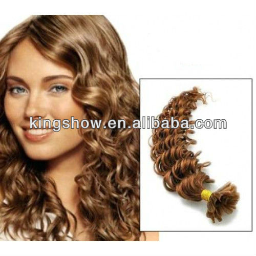 Curly chinese virgin u tip keratin pre bonded bond hair extension