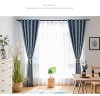 Made in China factory supply Moq one roll cotton linen printed blackout home decor curtains design