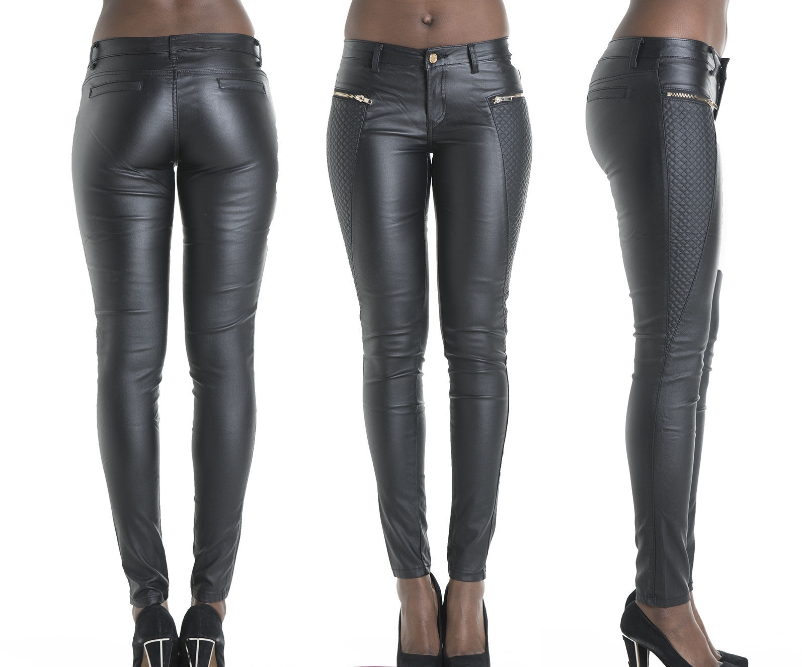 Fashion black leather pants patchwork fake zippers low ...