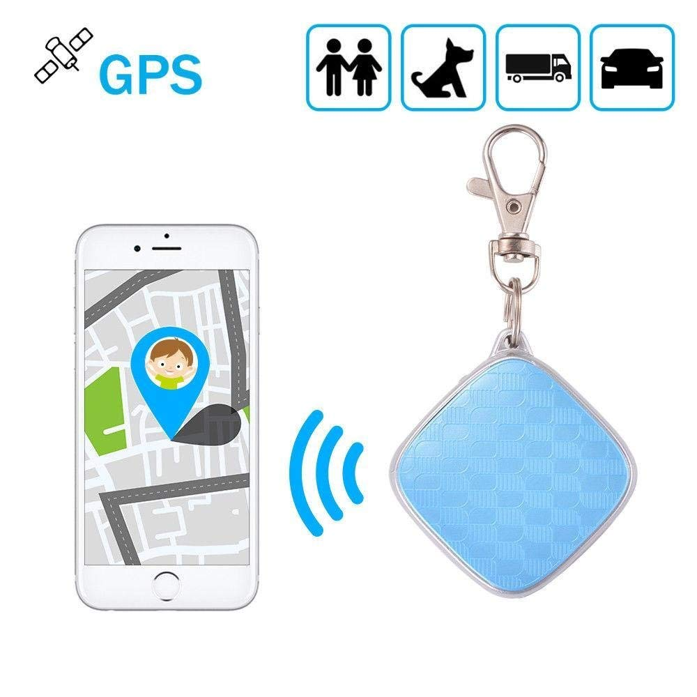 MiNi Car Personal Pet GPS Locator Tracker Keychain GSM Rastreador Tracking Device For Kids Elders Pets Real Time Alarm APP Track (Blue No box)