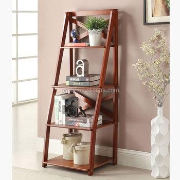 Muur Planken Espresso 4- Tier Leunen Ladder Boekenkast Woonkamer ...