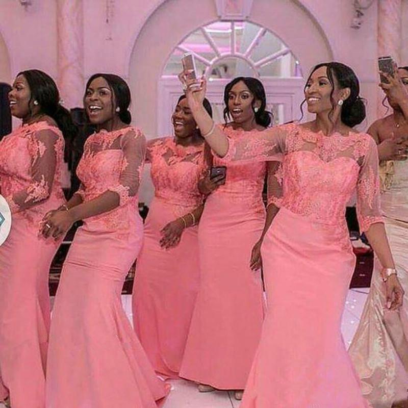 Venta al por mayor vestidos de damas de honor con mangas-Compre ...