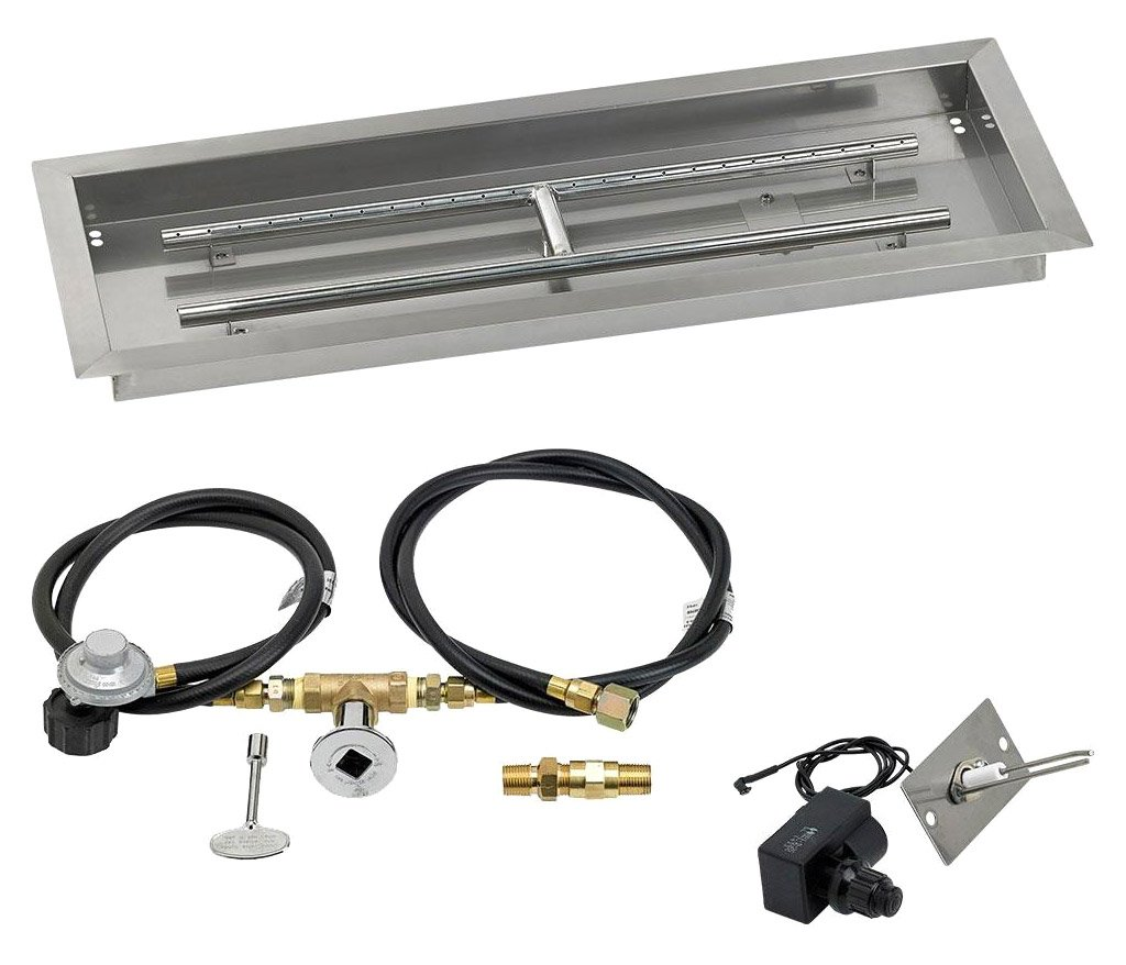 "American Fireglass SS-AFPPKIT-P-30 Propane 30"" x 10"" Rectangular Stainless Steel Drop in Fire Pit Pan with Spark Ignition Kit"