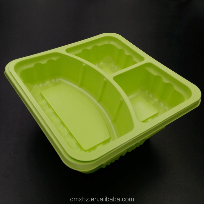 3 compartment 2 layers to go disposable bento box with lids
