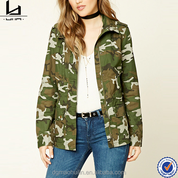 Clothing factories in China zip front chest pocket camo print military jacket woman