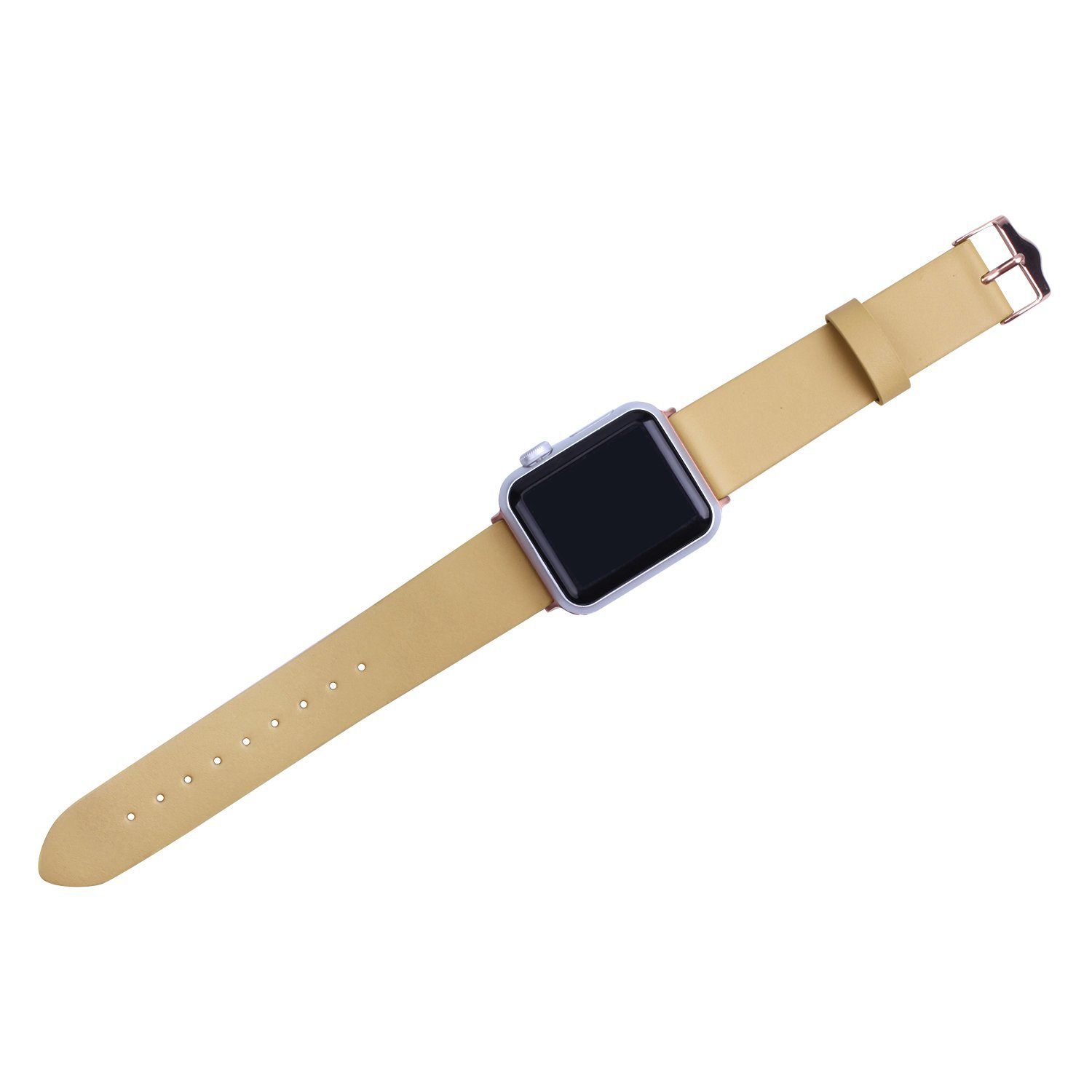 SWAWS 38mm Genuine Leather Watch Band Replacement Watch Straps with Classical Metal Buckle Design for iWatch