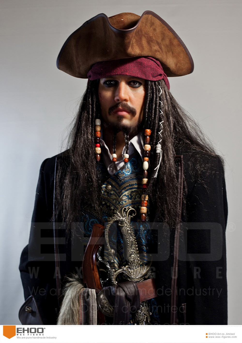 Best Actor Wax Mannequin Golden Globe Award Gainer Silicone Figure Caribbean Pirates Wax Statue in Real Life