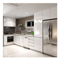 White High Gloss Lacquer L shape modular small kitchen unit cabinet designs