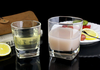 Hand Blown Square Bottom Whisky Glass Manufacture Clear Drinking Glass