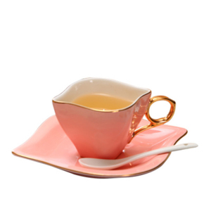 Cute color cappuccino ceramic creative coffee cup and saucer set 4 cups 4 discs with shelf gifts wholesale