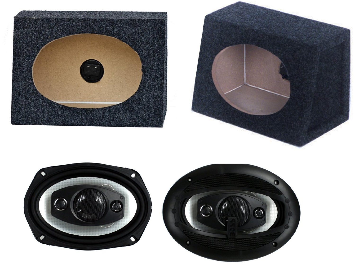 "2) NEW BOSS R94 6x9"" 500W Car Audio Speakers + 2) 6x9"" Speaker Box Enclosures"