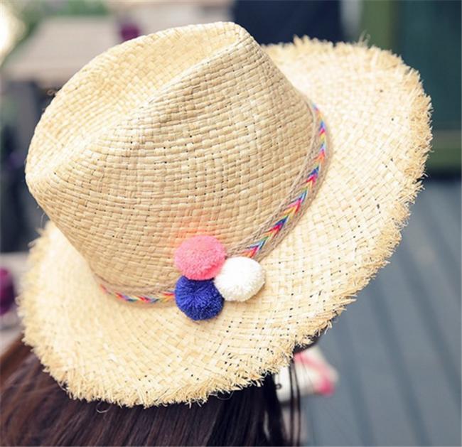 75a49db0860 Custom Women s Colorful Pom Poms Straw Floppy Beach Sun Hat ...