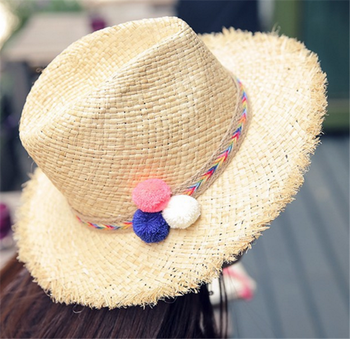 c1f72b30a9813 Custom Women s Colorful Pom Poms Straw Floppy Beach Sun Hat ...
