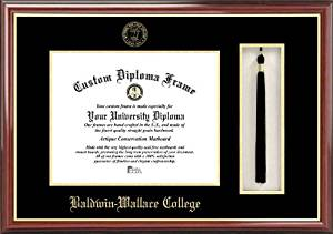 Baldwin Wallace College Yellow Jackets - Embossed Seal - Tassel Box - Mahogany - Diploma Frame