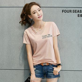 279999f9f Top fashion girls t shirts short sleeve print women v neck 100% cotton t  shirts