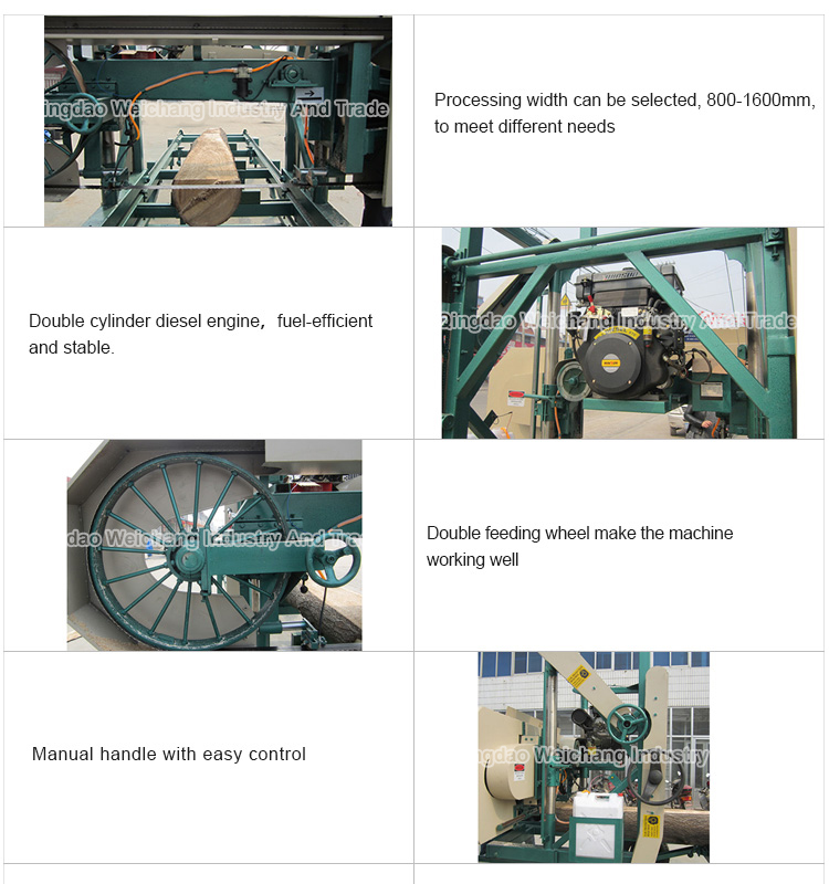 Hot sale woodworking machine MJ1000 Portable Horizontal Band Sawmill's (Diesel Engine) for log