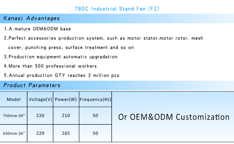 Kanasi OEM Multiple Sizes Multi-material Fan Blade Powerful Industrial Stand Fans with 110V~ 240V