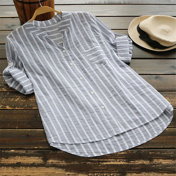 Women Fashion Striped V-Neck Baggy Shirts Lady Casual Loose Tunic Tops Plus Size S-5XL Blouse