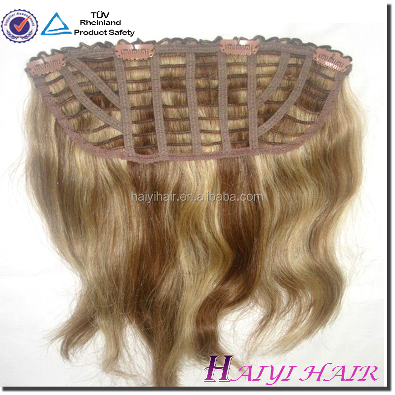 Top quality hair extensions double weft double drawn No Tangle orange clip in hair extension