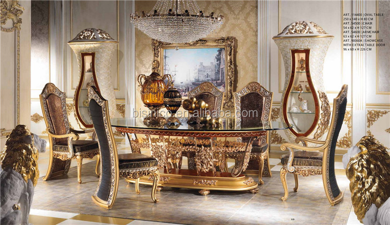 New arrival royal oval 4 meters dining table antique gold for Chaise longue barok