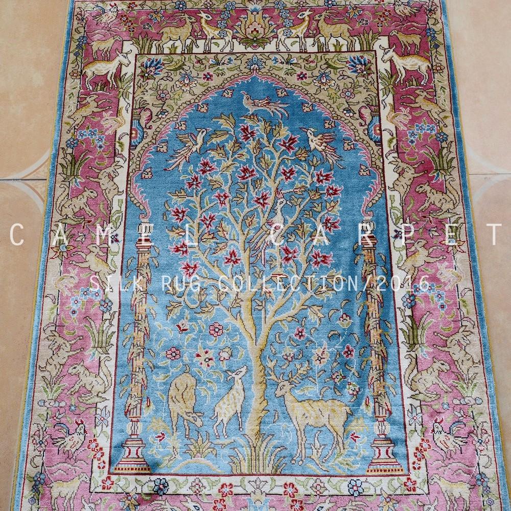 Blu tradizionale seta tappeti persiani tappeto 2x3 albero della vita ...