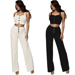 2018 European and American women's clothing two pieces pure color night club suit great flexibility