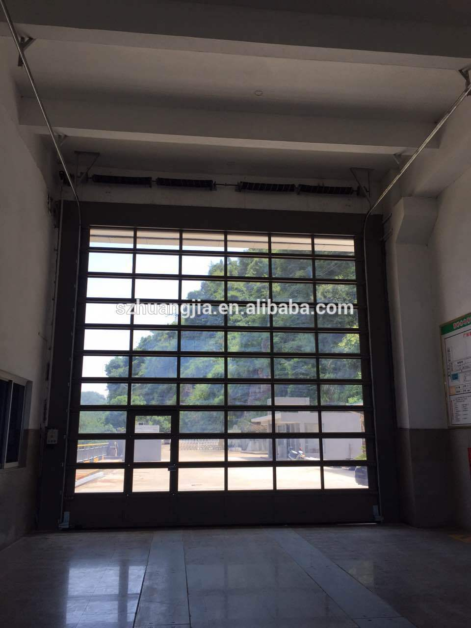 Electric heavy duty glass panel sectional garage door with for Sectional glass garage door
