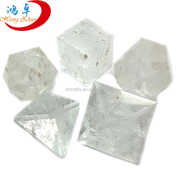 7 Pcs Clear Quartz Crystal Platonic Solids Sacred Geometry Set